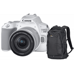 Canon EOS 250D Blanc + 18-55 mm IS STM + Sac Lowepro Flipside 300